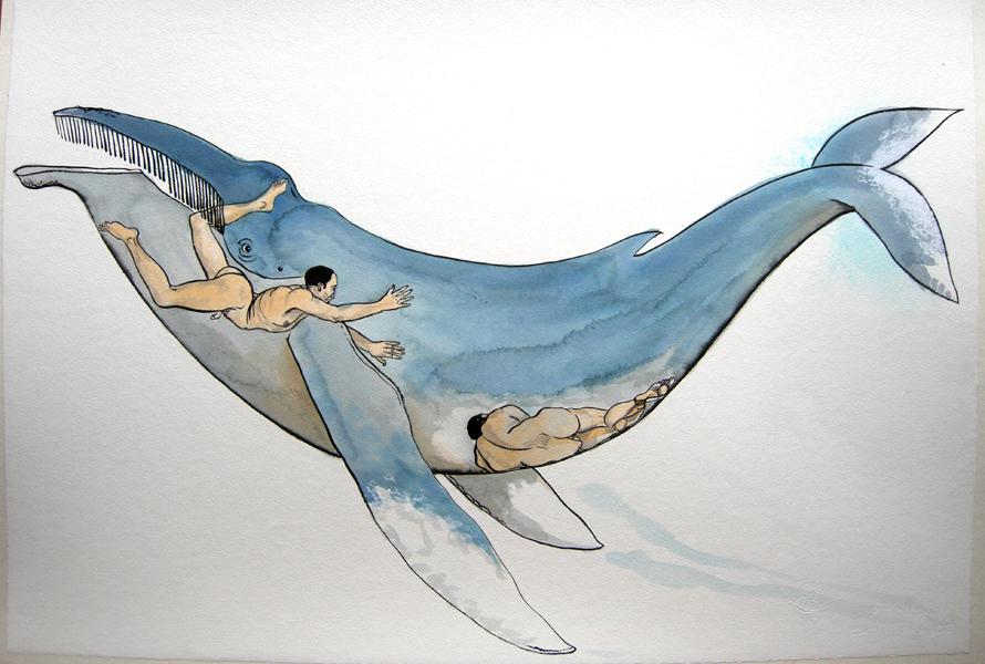 adieu Jonas Encre de Chine/papier 63 X 83 cm)