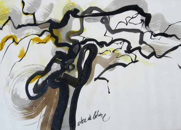 arbre de Chine encre sur papier Japon Ht 43 X 61,5 cm
