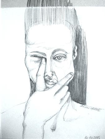 Autoportrait. Crayon graphite 30 X 21 cm