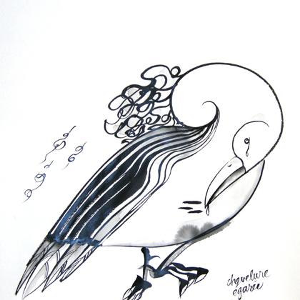 Chevelure égarée. Encre de Chine ht 42 X 42 cm