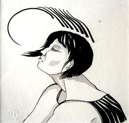 El viento. encre sur papier Japon Ht 20 X 20 cm