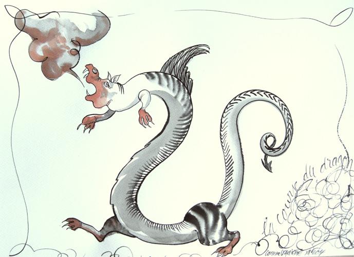 la course du dragon(encre sur papier aquarelle et plastification Ht 30 X 42 cm)