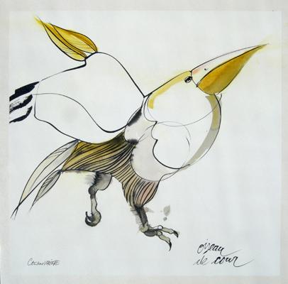 oiseau de cour (encre sur papier Japon Ht 43,5 X 43 cm)
