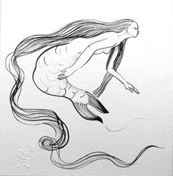 Sirène à la longue chevelure. encre sur papier Japon Ht 20 X 20 cm)