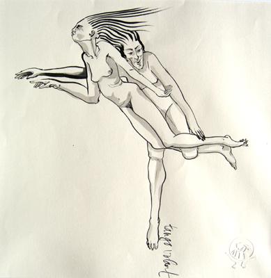 Tango volant. encre sur papier Japon Ht 30 X 30 cm