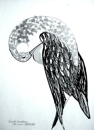 Triste oiseau. Encre de Chine 30 X 20 cm