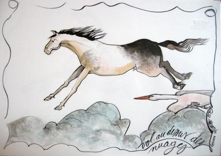 Vol au-dessus des nuages .Encre sur papier aquarelle et plastification Ht 30 X 42 cm