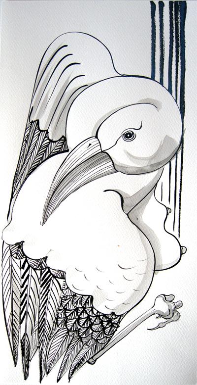 vue d'en haut(Encre de Chine/papier aquarelle 20,5 X 42 cm)