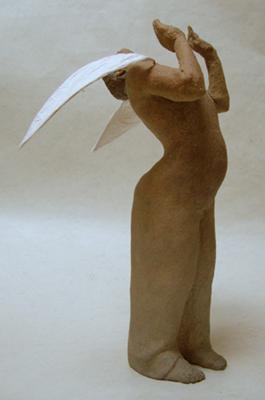 aspiration(ht 37 X 23 X 23 cm céramique, encre, laiton, papier)