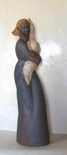 l'oie blanche (ht 86 X 28 X 23 cm céramique)